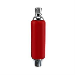 """Poignee - Red Plastic Tap Handle 5"""" W / Chrome Plated Ferrule"""